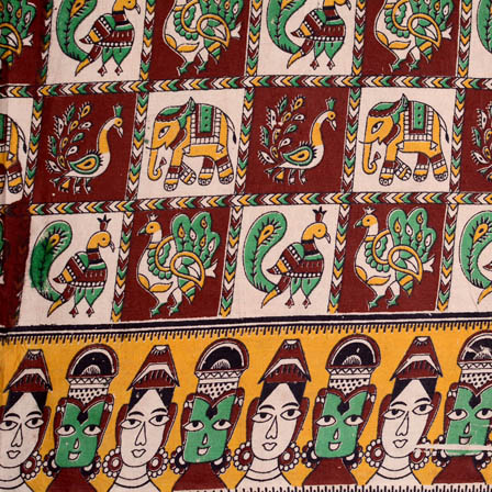 Maroon-yellow and Green peacock-bridal face border kalamkari fabric-5108