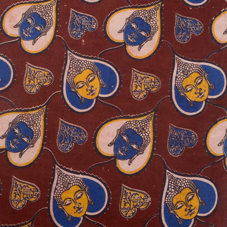 Maroon-yellow and blue buddha-leaf print kalamkari fabric-5165