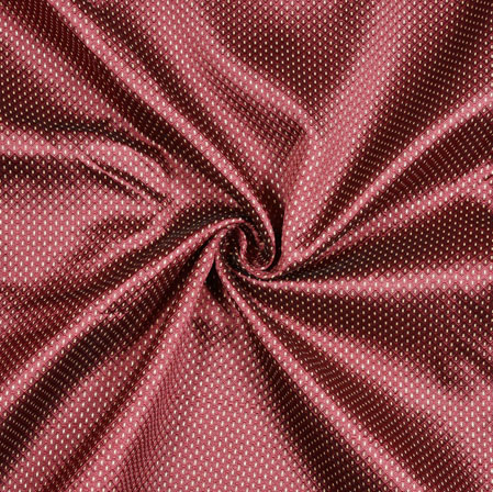 Marron White Polka Brocade Silk Fabric-12708