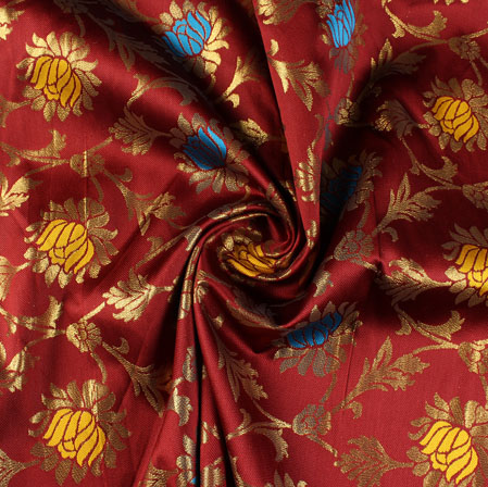 Mehroon Yellow and Blue Floral Brocade Silk Fabric-9493