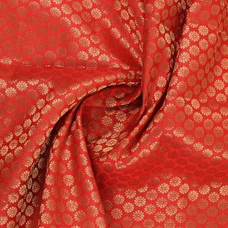 Mehroon and Golden Flower Brocade Silk Fabric-8932