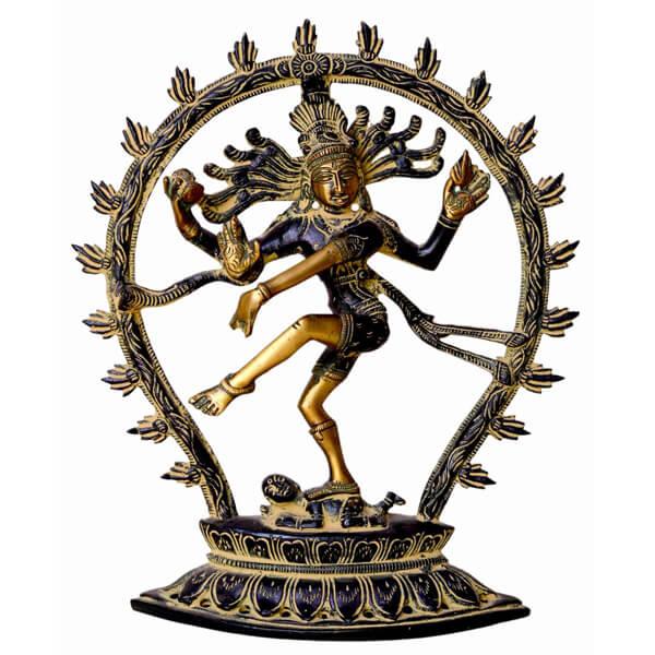 Metal Green Natraj Statue (8.5 Inch)