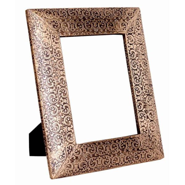 Metalic Brown White Wood Photo Frame