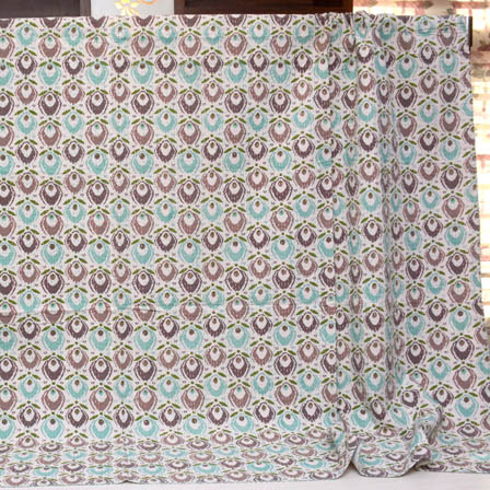 Mint Green-Brown and Peach Indian Handmade Kantha Quilt-4357