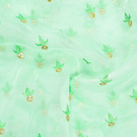 Mint-Green Golden Floral Embroidery Organza Silk Fabric-22001
