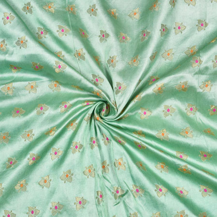 Mint Green Golden Floral Satin Brocade Silk Fabric-12799