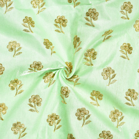 Mint Green Golden Embroidery Silk Paper Fabric-18593