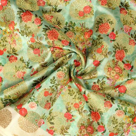 Mint Green-Golden and Red Flower Digital Banarasi Silk Fabric-24062