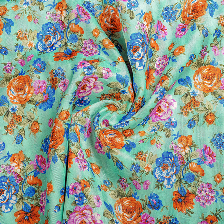 Mint Green-Orange and Blue Flower Banglori Silk Fabric-37002