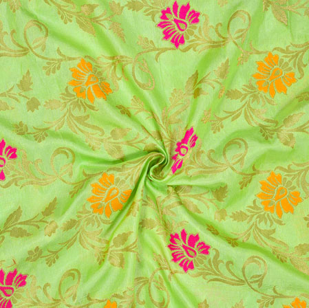 Mint-Green Pink and Golden Floral Satin Brocade Silk Fabric-12696