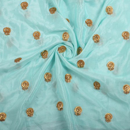 Mint Green and Golden Floral Malbari Embroidery Silk-60709