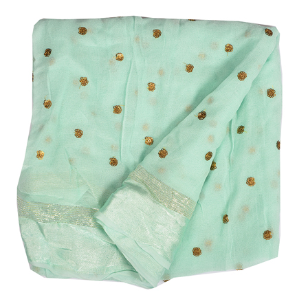 Mint Green Golden Polka Embroidery Chiffon Fabric-60386
