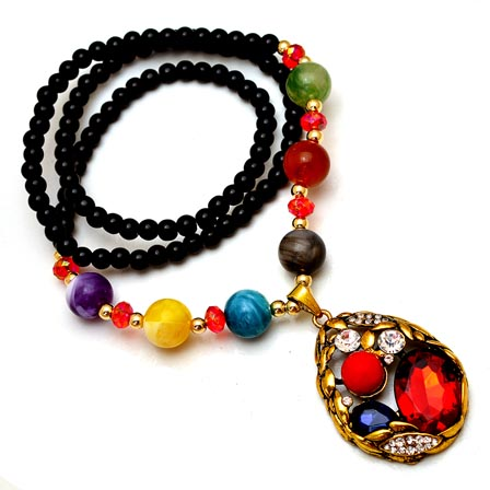 MultiColor Pearls Drop Neckless with Egg Pattern Pandent for Women