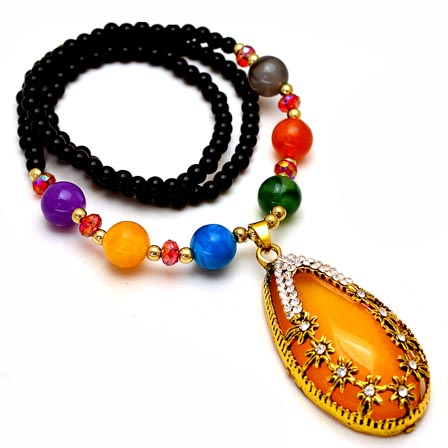 MultiColor Pearls Drop Neckless with Egg Pattern White Stone Pandent for Women