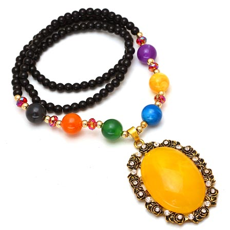 MultiColor Pearls Drop Neckless with Round Pattern Pandent for Women