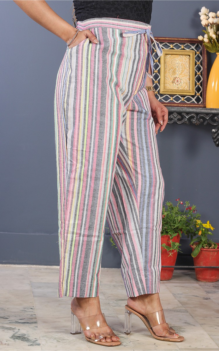 Multicolor Cotton Stripe Pant-35196