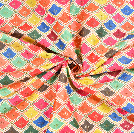 Multicolor Digital Position Print Malbari Embroidery Fabric-19309