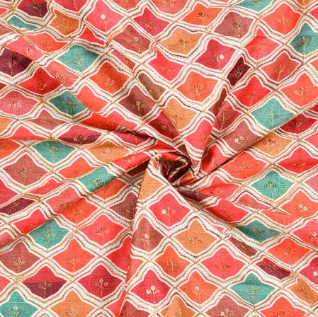 Multicolor Digital Position Print Malbari Embroidery Fabric-19310