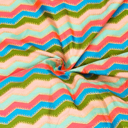 Multicolor Zig-Zag Banarasi Silk Fabric-12609