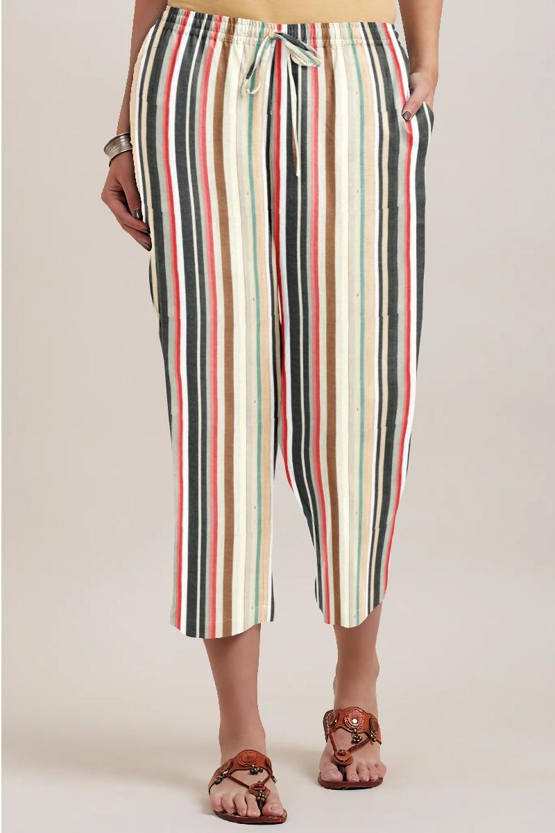 Multicolor Cotton Stripe Women Culotte-35945