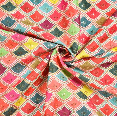 Multicolor Cyan and Pink Digital Position Print Malbari Embroidery Fabric-19308