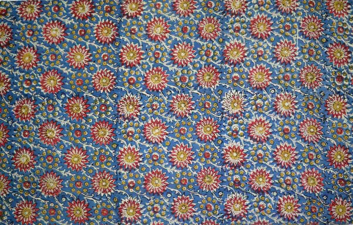 Multicolor Floral Kalamkari Pattern Indian Cotton Blouse Fabric