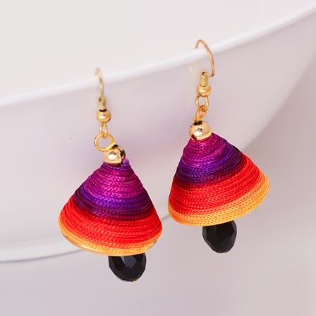 Multicolor Silk Handcrafted Jhumki with Black Stone Drop for Women