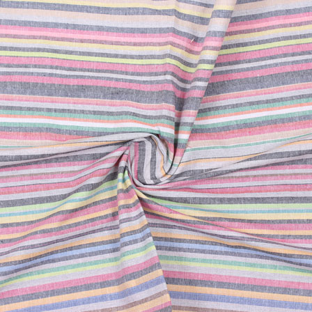 Multicolor Striped Handloom Cotton Fabric-40742