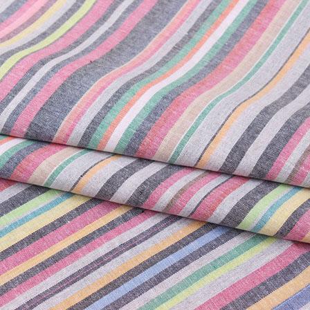 Multicolor Striped Handloom Cotton Fabric-40742
