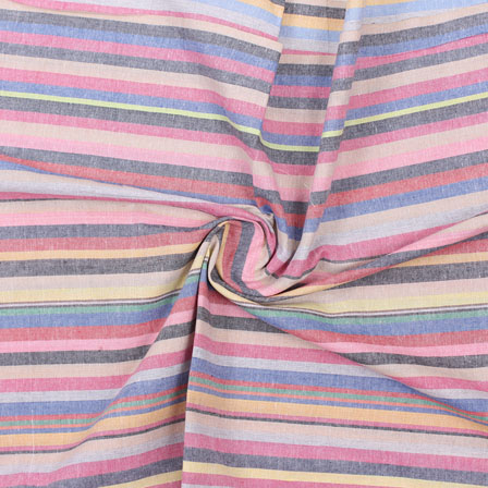 Multicolor Striped Handloom Khadi Cotton Fabric-40743