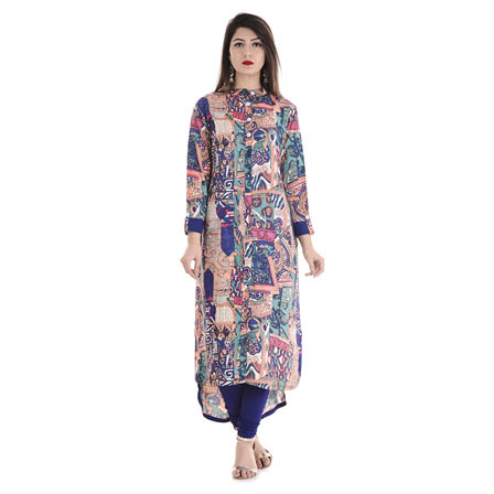 Multicolored 3/4 Sleeve High-Low Hemline with Front-Slit Rayon Kurti-3111