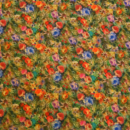 Multicolored Flower Digital Print Silk Fabric-24012