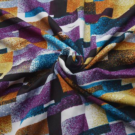 Multicolored Unique Design Crepe Fabric-18096