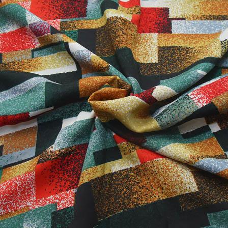 Multicolored Unique Pattern Crepe Fabric-18097