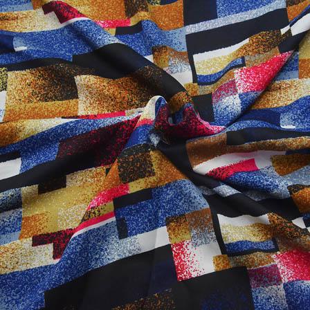 Multicolored Unique Pattern Crepe Fabric-18098