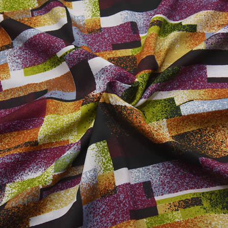 Multicolored Unique Shape Crepe Fabric-18095