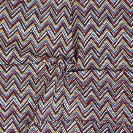 Multicolored Zig Zag Design Block Print Cotton Fabric-14294
