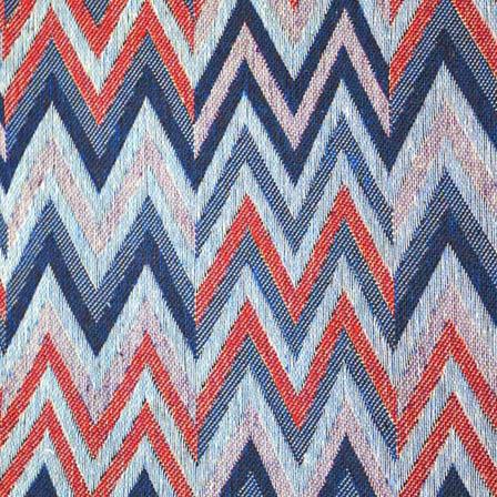 Multicolored Zig Zag  Design Cotton Jacquard Fabric-31025