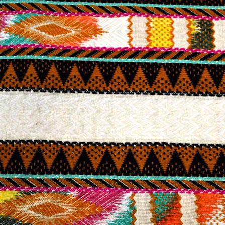 Multicolored Zig Zag Pattern Cotton Jacquard Fabric-31037
