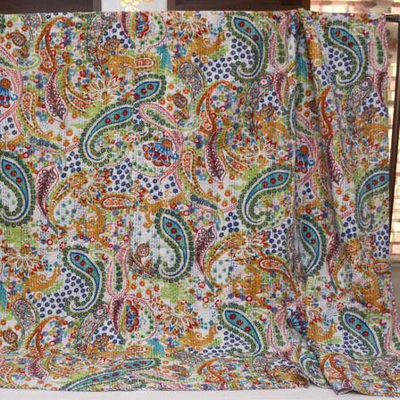 Multicolour Handmade Paisley Design Kantha Quilt-4375