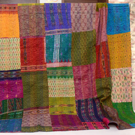 Multicolour Handmade Patch Work Pattern Kantha Quilt-4328