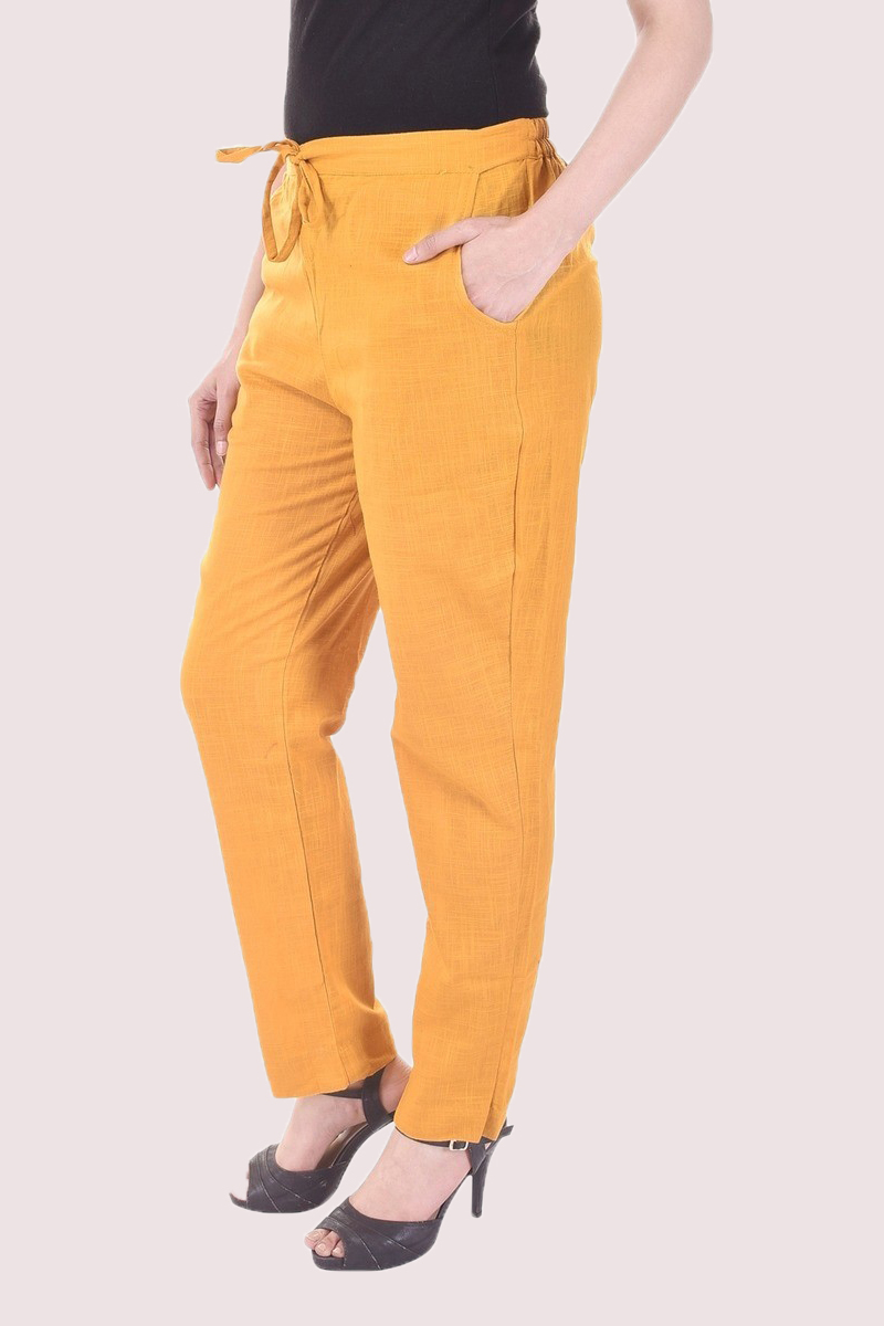 Mustard Cotton Slub Solid Women Pant-33294