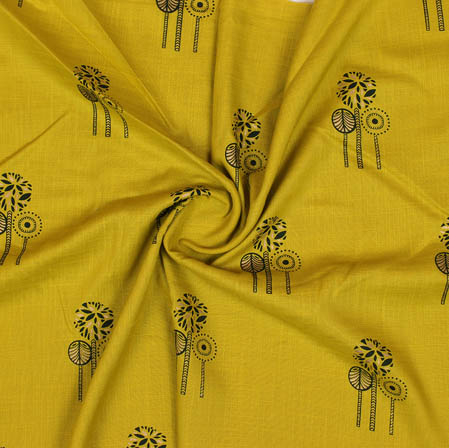 Mustard Yellow Black Block Print Cotton Fabric-14928