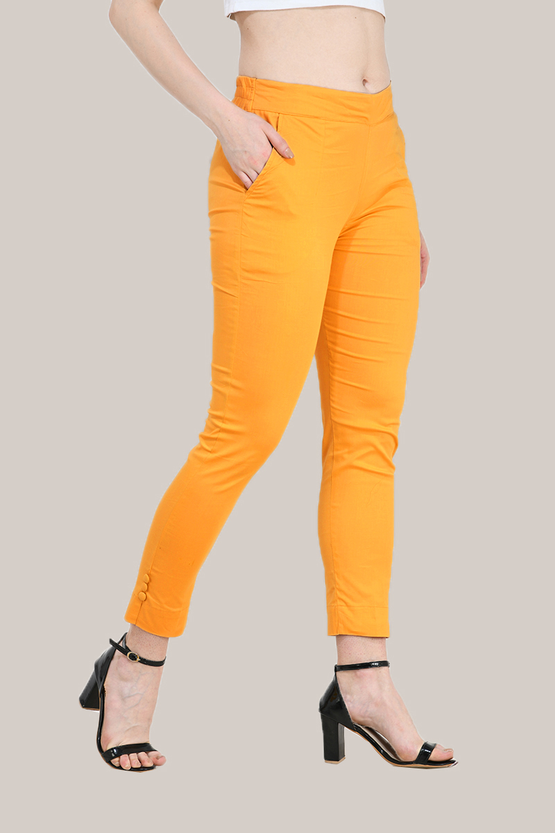 Mustard Yellow Cotton Lycra Trippy Pant-33509