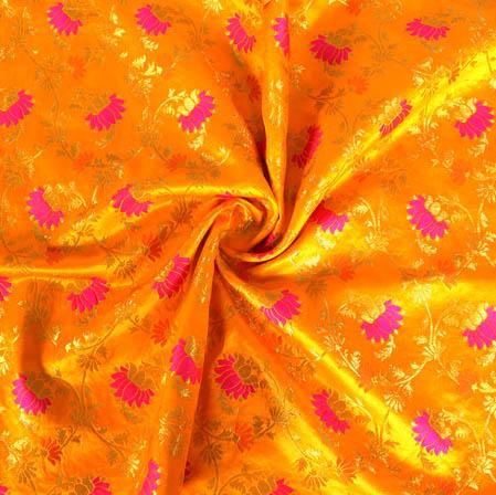 Mustard Yellow Golden and Pink Floral Banarasi Silk Fabric-9410