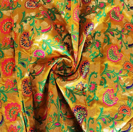 Mustard Yellow Green and Orange Floral Banarasi Silk Fabric-9437