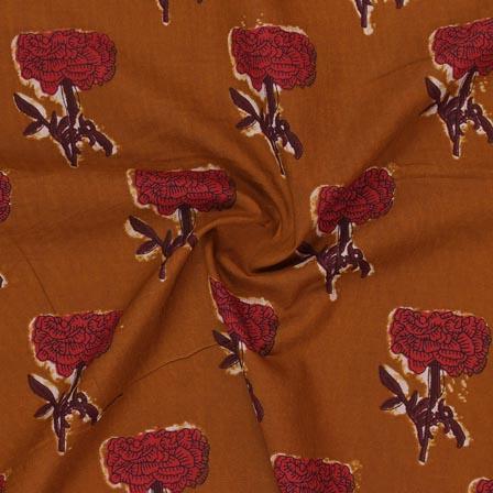 Mustard Yellow Red Block Print Rayon Fabric-14897