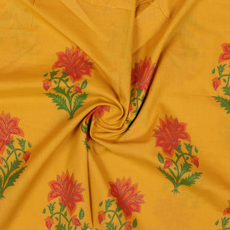 Mustard Yellow Red and Green Block Print Cotton Fabric-14929