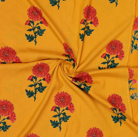 Mustard Yellow Red and Green Block Print Cotton Fabric-14947
