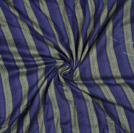 Navy Blue Beige Stripe Cotton Flex Fabric-28180